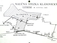 schema naší trasy Klánovický les