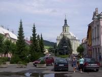 Město Albrechtice-pozdně barokní kostel Navštívení P. Marie