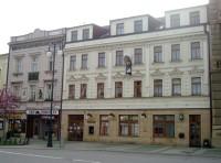 Prostějov-dům se sochou sv. Markéty