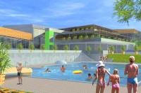 Pohled na venkovní bazén ve střední části aquaparku (převzato z propagačního materiálu)