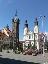 Klatovy, Černá věž a jezuitský kostel