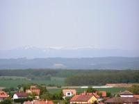 Veselský háj - Kákovice, výhled na Krkonoše