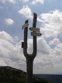 turistické rozcestí u Kozích hřbetů