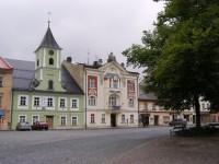 Králíky - Velké náměstí, muzeum a spořitelna