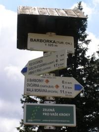 turistické rozcestí - Barborka