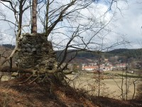 výhled z hradu na obec Holštejn