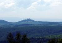 výhled z Brda na hrad Buchlov