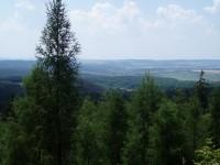 Výhled z Louštína v dáli Lužná