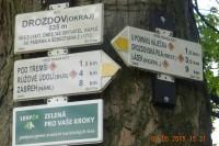 rozcestník u lípy na konci obce Drozdov