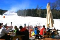 ski pod modrou oblohou