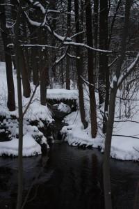 Kamenný mostek přes  potok v zámeckém parku
