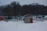 Pohled na zimní stadion v Žamberku od silnice na Jablonné nad Orlicí