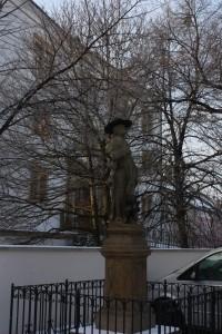 Barokní socha sv. Rocha na Horním náměstí v Přerově