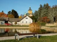 Holovousy - rybník na návsi, v pozadí je zámek