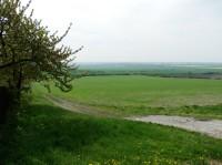 Na vyhlídce pod Oškobrhem, pohled do Polabí