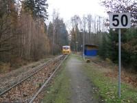 vlaková zastávka Bahno - vyrážíme na trasu ....
