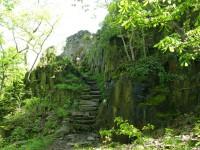ještě pár kamenných schodů a jsme na zřícenině hradu Ostrý