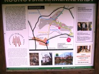 informační tabule u nádraží v Mutějovicích