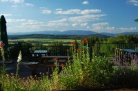 Výhled na Krkonoše z terasy restaurace