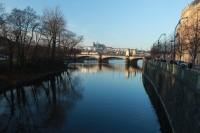 Krmení labutí, kachen a racků na břehu Vltavy