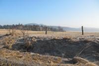 Krajina nad Lačnovem- pole a pastviny. Dominantou v pozadí jsou vrcholy Kopce a Krajčice (alespoň si to myslím)