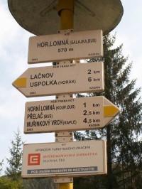 Rozcestník v Horní Lomné
