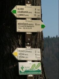 Nádraží Nedvědice - rozcestník: Rozcestník žluté a zelené značky na nedvědickém nádraží.