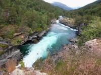 Slettafossen - řeka Rauma, Norsko - údolí Romsdalen