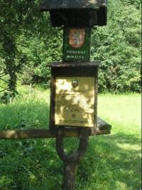 Přírodní památka: Informační tabule k přírodní památce-travertinová kaskáda v obci Tichá