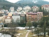Řada hotelů nad Dvořákovými sady