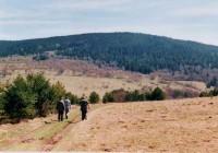 v pozadí hora Křemelná, po levé straně bývala kdysi hospoda