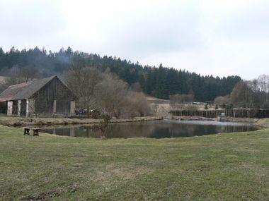 Čihaň, rybník na návsi