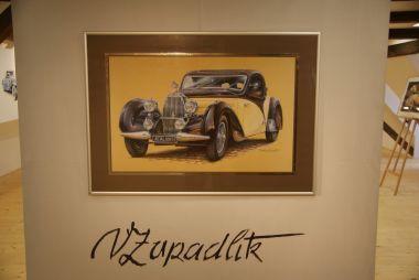 """výstava """"Obrazy automobilového světa"""" Václava Zapadlíka"""