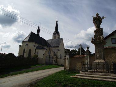 sv. Barbora a kostel Nanebevzetí Panny Marie