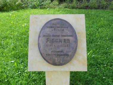Pamětní deska Johana Caspara Ferdinanda Fischera v klášterním areálu
