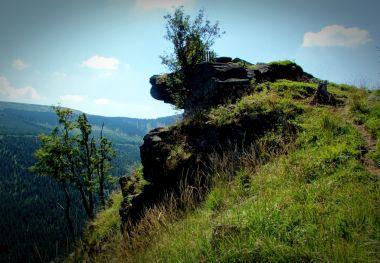 výhled ze skalní vyhlídky na Medvědí hoře