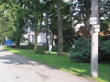 Okolí: Okolí rozcestníku, pohled směrem do vesnice