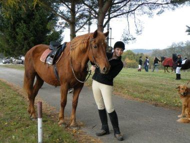Jezdkyně s vyšňořeným koníkem
