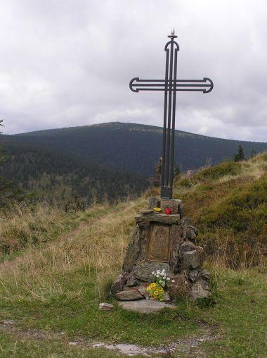 Kříž u Vřesové studánky v pozadí s Keprníkem